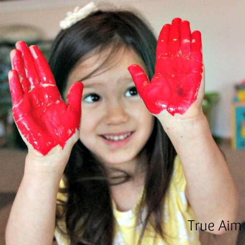 bird hand print kid art