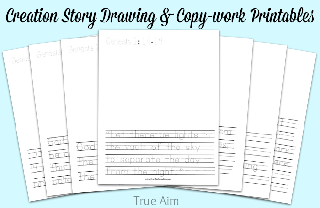creation story drawing and copywork printables
