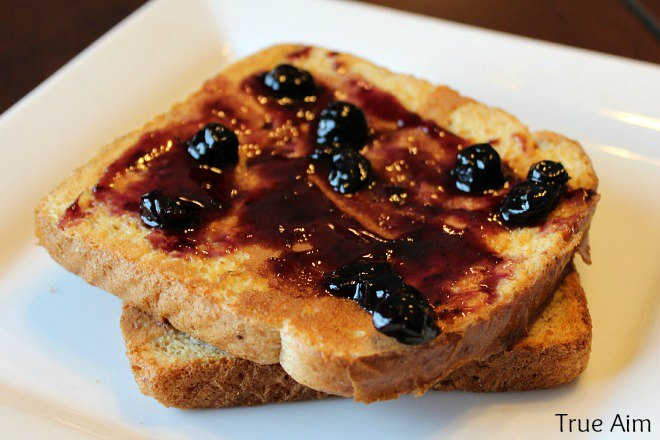 homemade blueberry jam on french toast