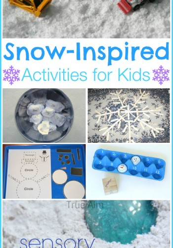 Snow themed activities for kids including snow dough, snowman math toss, sight word snowball toss and more!