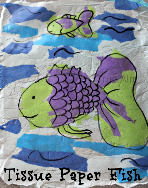 tissue paper fish craft for kids