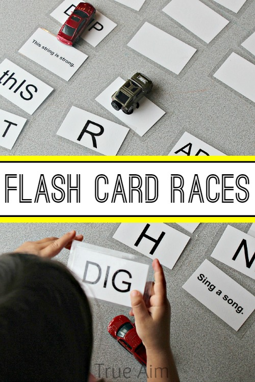Easy Learn to Read Activity - Flash Card Races, play as a competitive or cooperative game