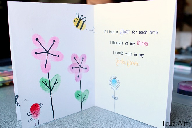 Fingerprint mothers day card inside