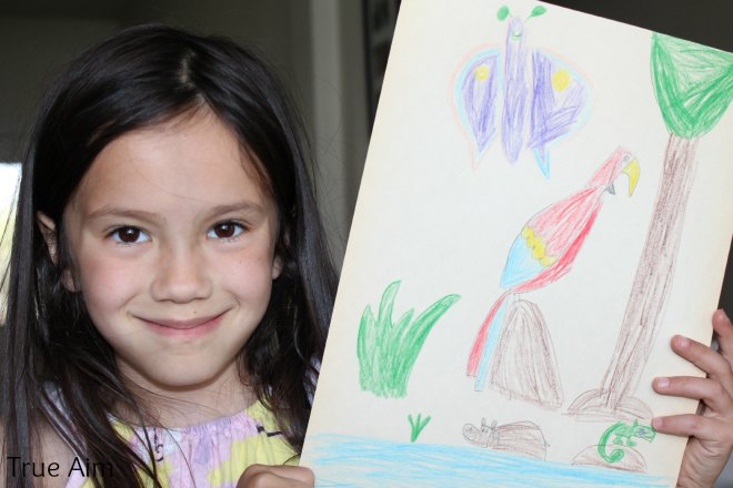 Kid art project How to draw a parrot