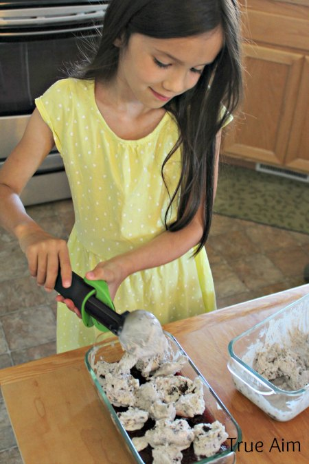 Helping with homemade ice cream cake