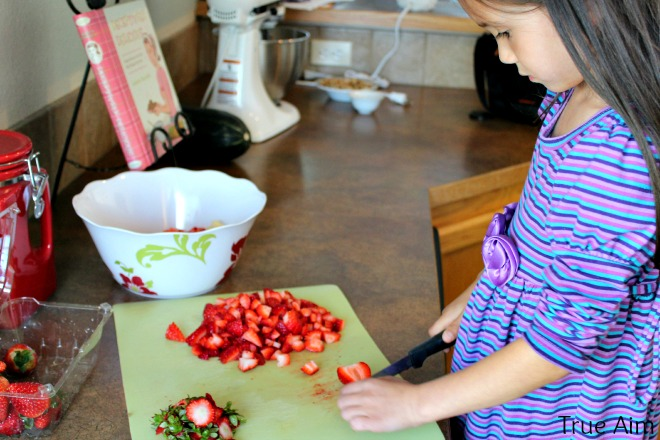 Preparing fruit salsa