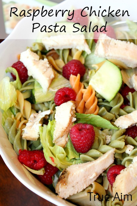Raspberry chicken pasta salad with poppy seed dressing
