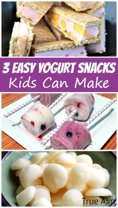 3 Easy yogurt snacks kids can make! Yogurt pops, yogurt ice cream sandwiches, and yogurt bites