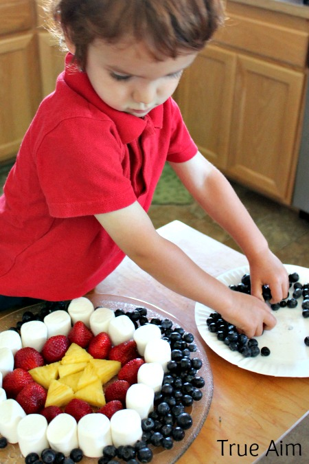 Cooking with Kids, 4th of July fruit plate