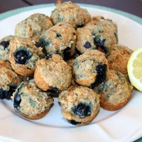 Healthy Whole Wheat Lemon Blueberry Yogurt Muffins