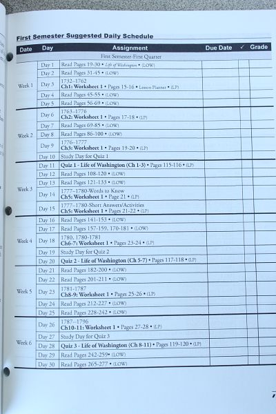 homeschool history curriculum planner page