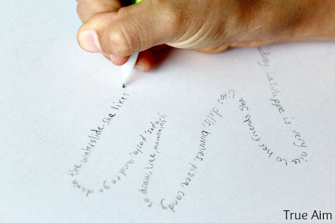Activities to encourage children to write, word art