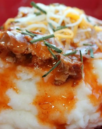$5 Dinner: BBQ Pork Smothered Mashed Potatoes