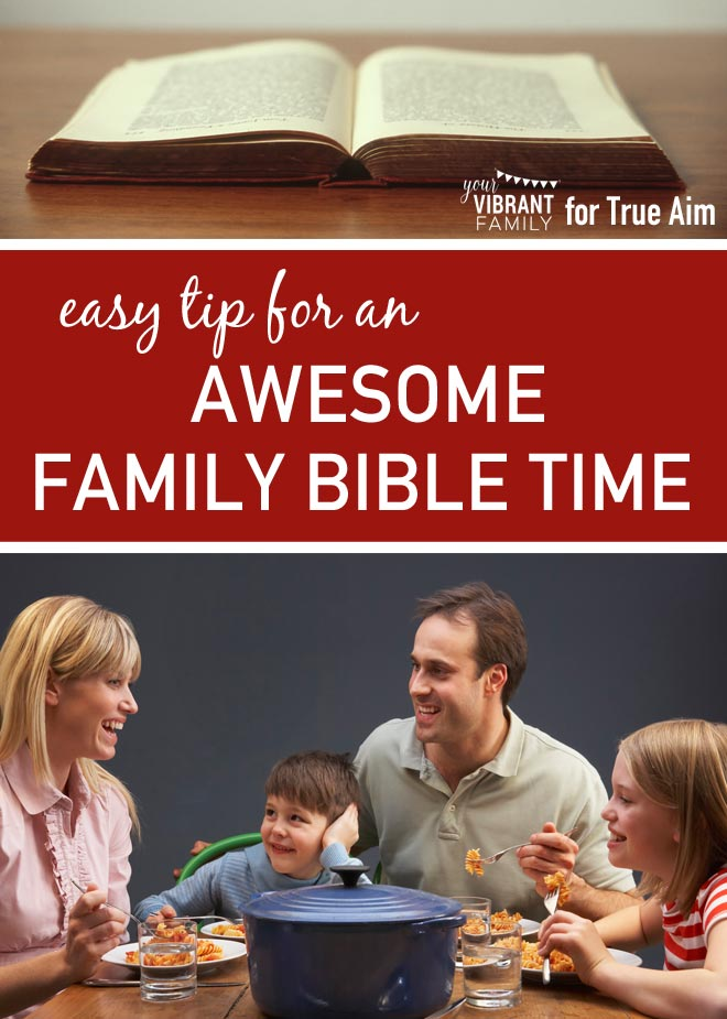 How can a busy family like yours plan for regular family Bible time?  You'll LOVE this simple and practical tip that makes family Bible time a regular time of deep spiritual connection with your family!
