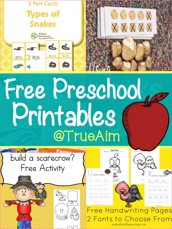 Free Preschool Printables and Mom\'s Library #154 | True Aim