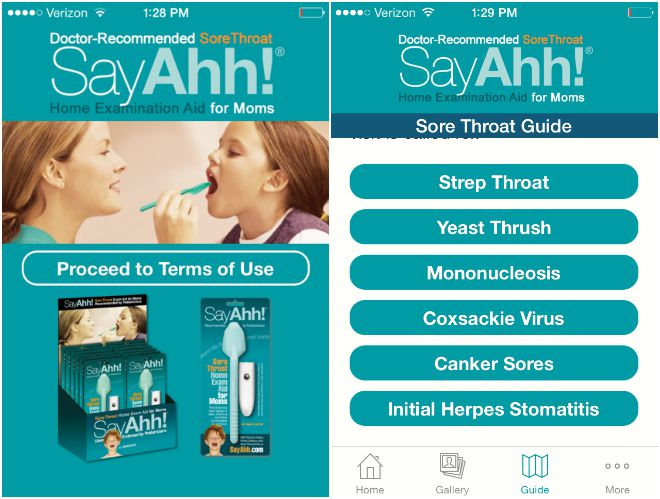Home exam app for sore throat