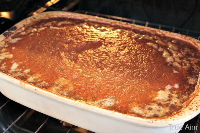 Apple butter recipe cooking in oven