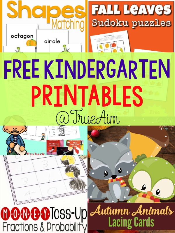 Free Kindergarten Printables and Mom\'s Library #160 | True Aim