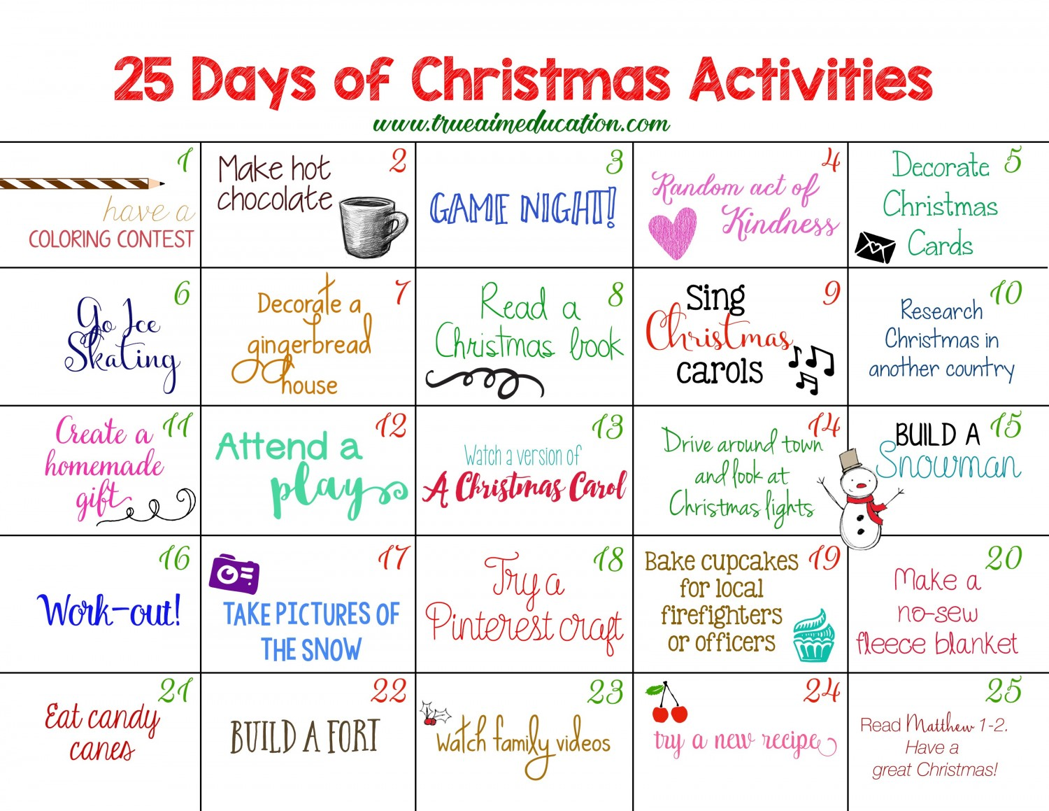 Christmas Calendar Ideas Preschool : Days of christmas activities advent calendar true aim