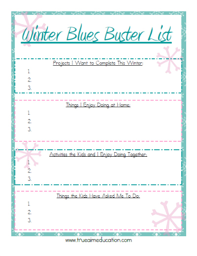 winter activities free printable
