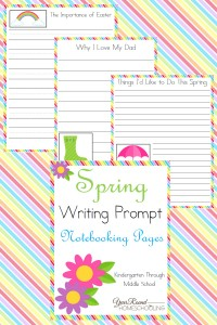 Spring Writing Prompt Notebooking Pages - By Year Round Homeschooling