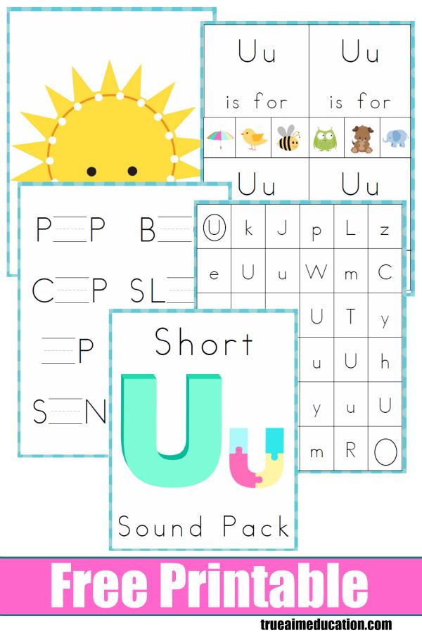 Free preschool printables - short U pack