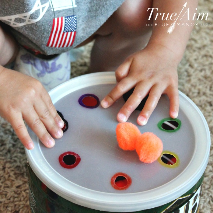 Preschool math activity - pom pom math machine