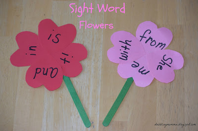 Sight Word Heart Flowers pm