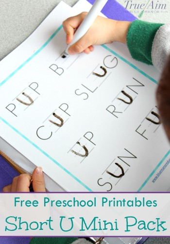 free preschool printable short u sound mini pack
