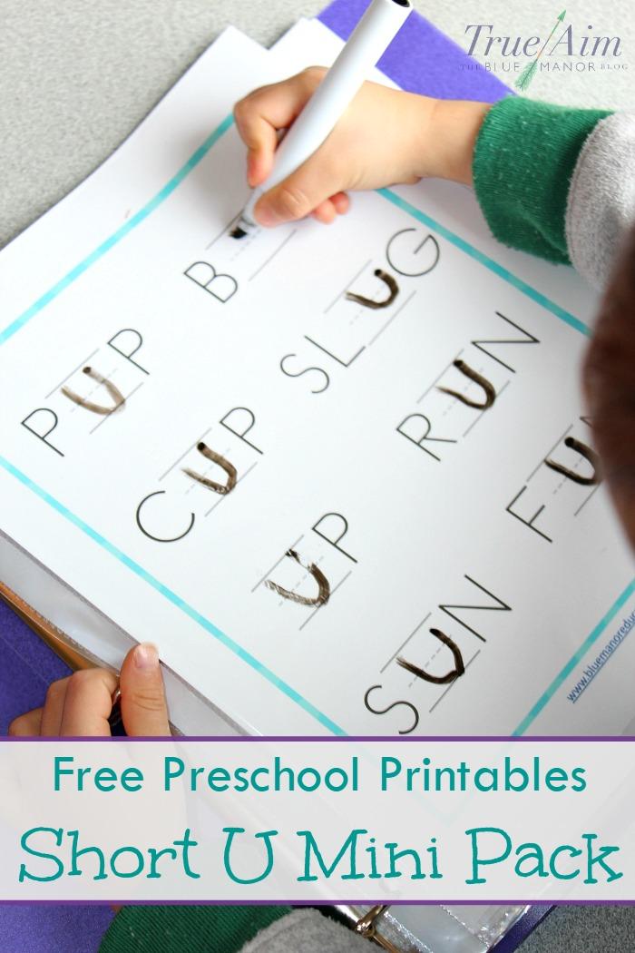 free preschool printable short u sound mini pack
