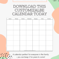 Free Monthly Blank Calendar Printable – Any Year