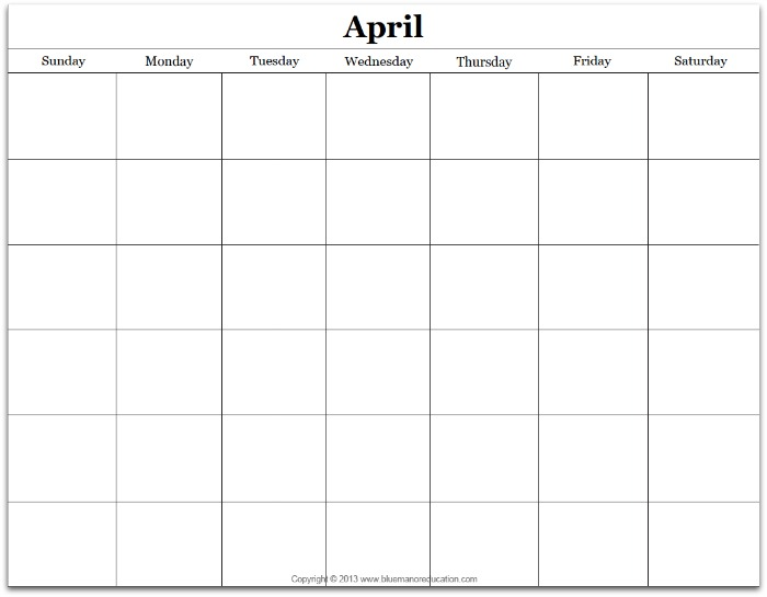 Free Monthly Blank Calendar Printable  Any Year  True Aim
