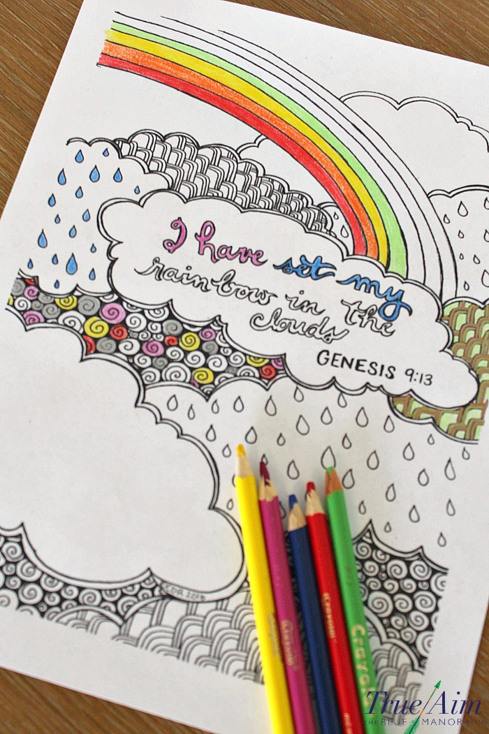 6 Free bible verse coloring pages - genesis 913 - I have set my rainbow in the clouds