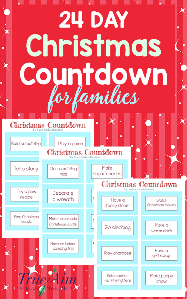 Christmas Count Down.24 Day Christmas Countdown For Families Free Printable
