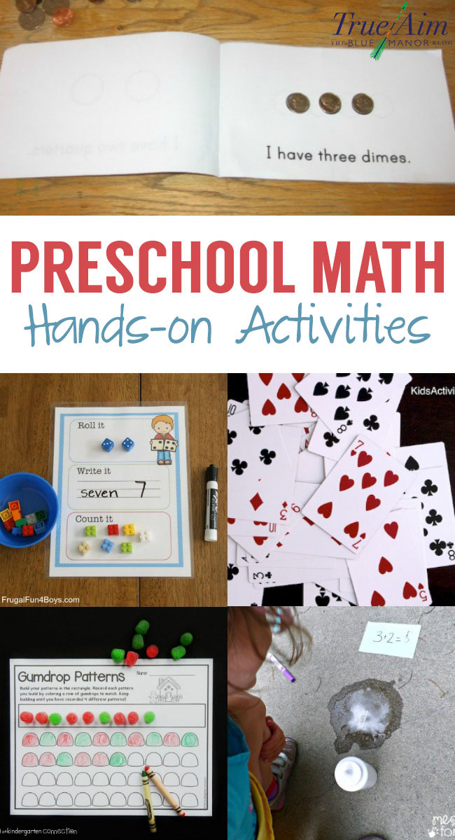 Teach preschool math with hands-on activities! Get kids moving and give visuals for counting, number recognition, basic addition, and more.