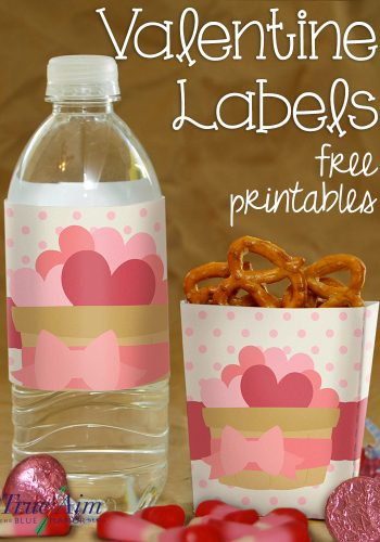 Valentine Boxes and Water Labels free Printable