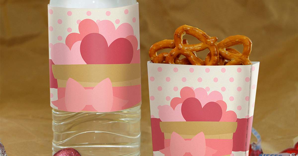 Love is in the air! Create water bottle labels and treat baskets with these free printable Valentine's Day party labels.