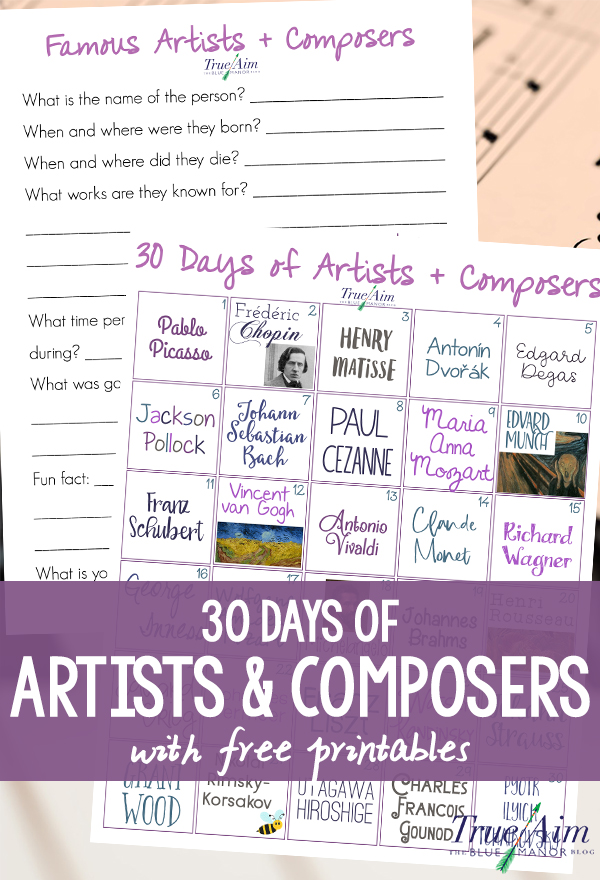 With more of a focus on STEM, the arts are dying. Learn and appreciate the famous artists and composers of history with this 30 Days of Artists and Composers calendar.