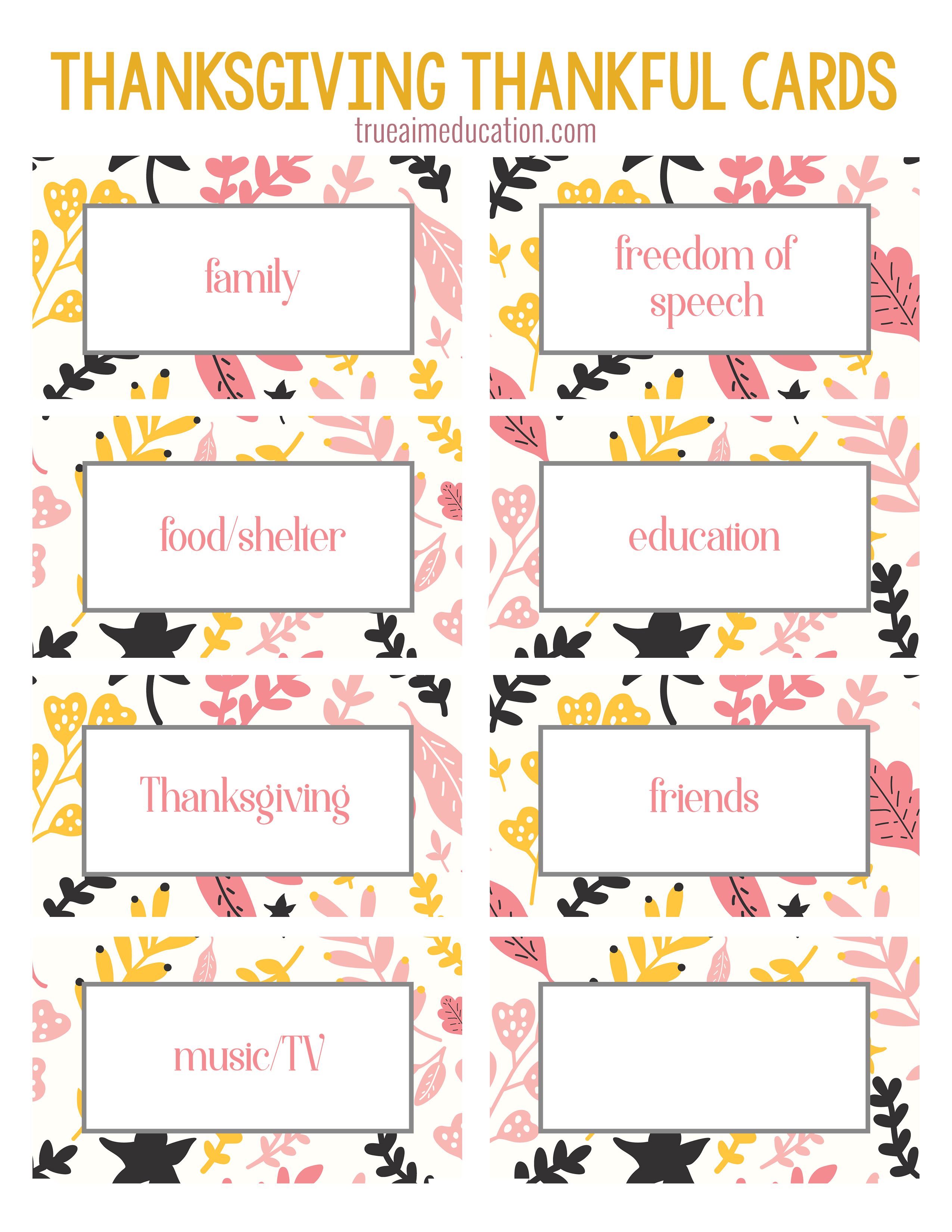 photograph about Thankful Printable named Thanksgiving Thankfulness with Totally free Printable Playing cards